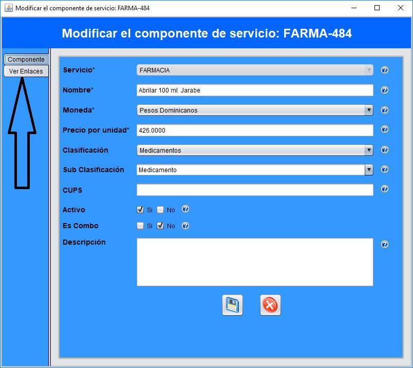 Modificar componente de servicios